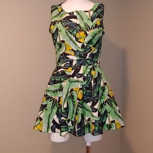 Two Piece Tropical Banana Palm Skirt and Crop Top